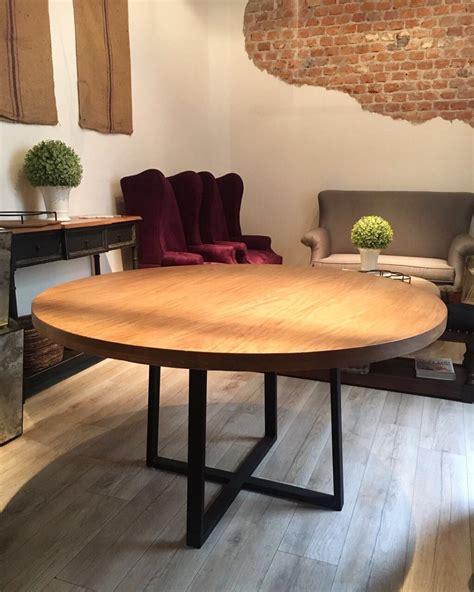 mesa redonda comedor madera mueble herreria diseno roble