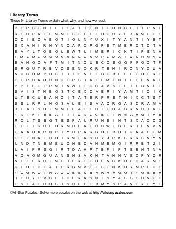 printable word search literary terms free sle college admission literary terms crossword
