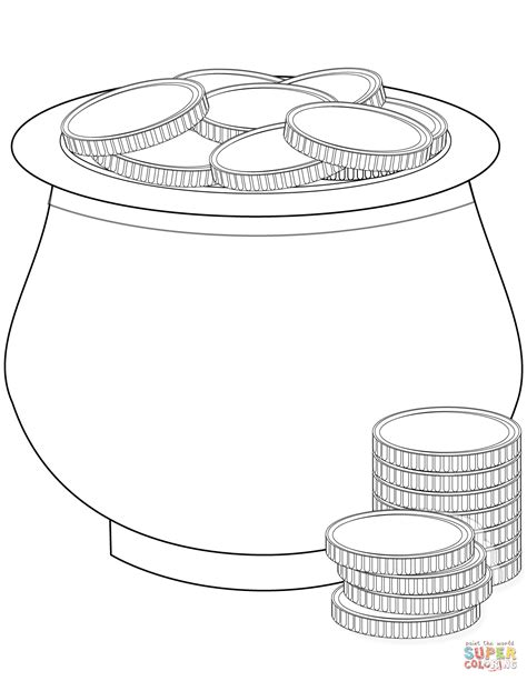 pot of gold coloring page pot of gold coins coloring page free printable coloring