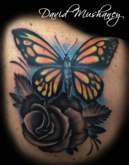 rose butterfly tattoo rebel muse tattoos flower butterfly and