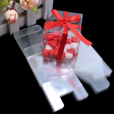 pieceslot clear square wedding favor gift box pvc