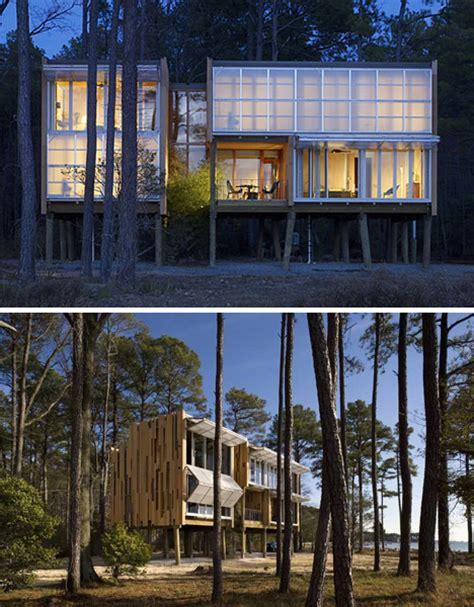 Beach House On Stilts by Prefab Beach House On Stilts Kieran Timberlake Blue