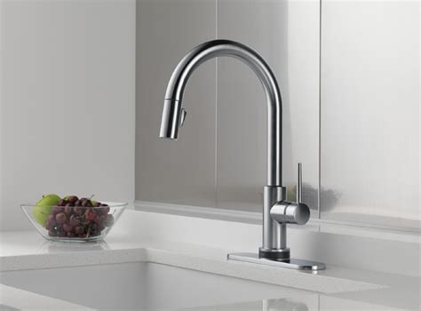 build ca delta 9159t dst trinsic 1 lever handle pull down delta faucet 9159t ar dst trinsic arctic stainless pullout