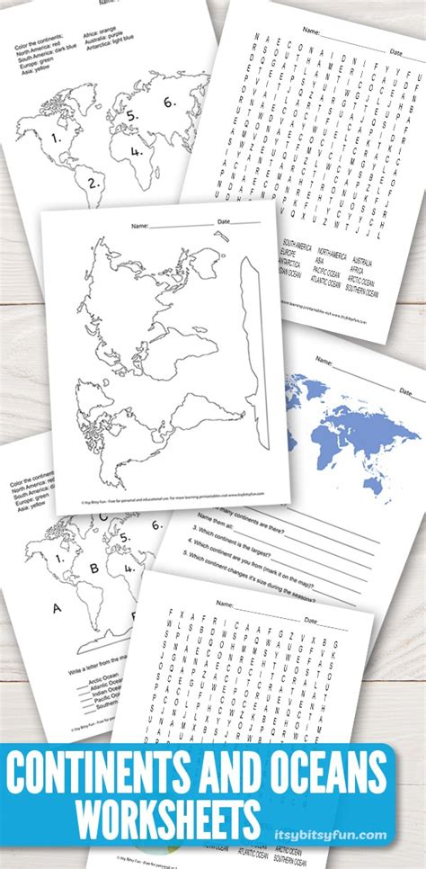 continents  oceans worksheets  word search quiz