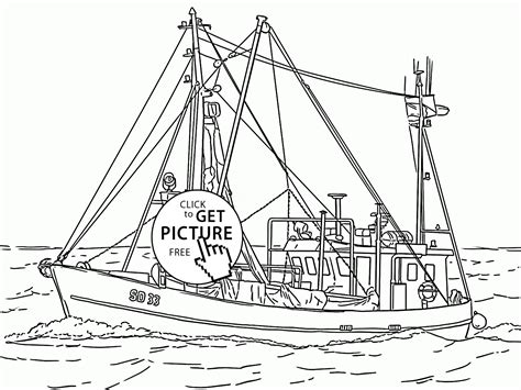 real boat drawing real fishing vessel coloring page for kids transportation