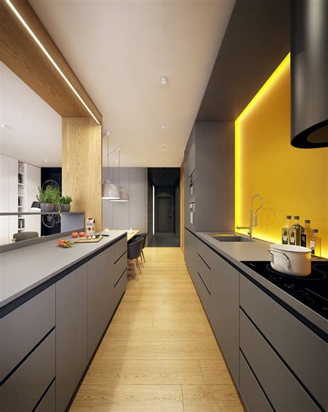 galley grey kitchen with yellow backsplash