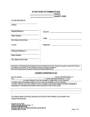 Bill Of Sale Form New Hshire Parenting Plan Form Templates Fillable Printable Sles For Shared Parenting Plan Template