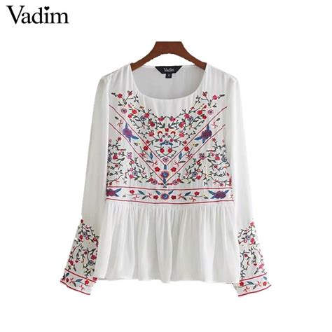 Blouse Branded Sweetjourney vadim sweet floral embroidery chiffon shirts sleeve o neck pleated blouse white brand