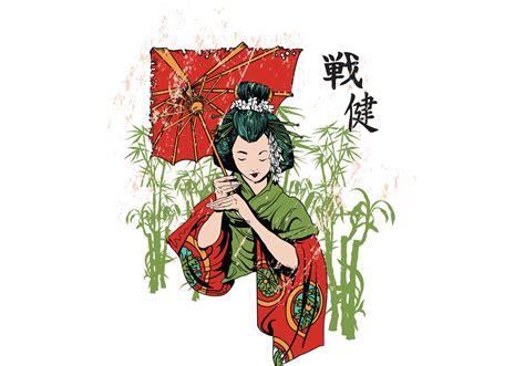 japanese geisha vector  shirt template