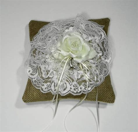 Shaby Mikhayla ring bearer burlap and lace pillow shabby chic pillow