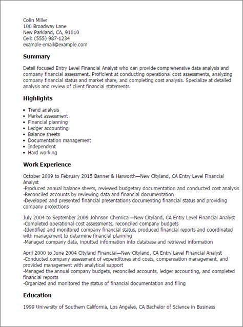 entry level finance resume sles resume format 2017
