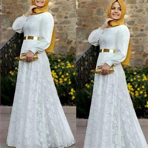 Flowery A Line Muslim Dress 2016 a line white formal muslim evening dress sash islamic dubai abaya kaftan lace