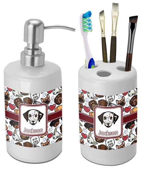 dog bathroom decor dog faces bathroom accessories set ceramic personalized youcustomizeit