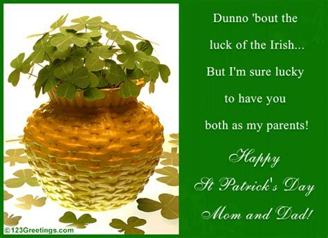 Happy St. Patrick's Day To Parents  Free Family eCards