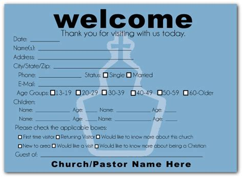 church welcome card template welcome visitor cards ministry greetings christian