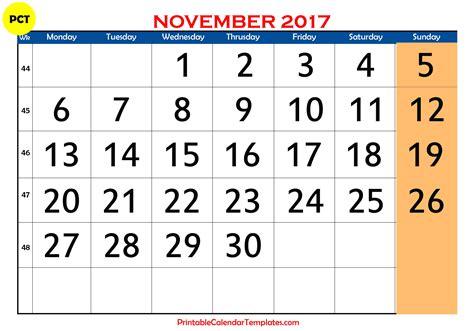 Calendar 2017 Nov November 2017 Calendar Printable Printable Calendar
