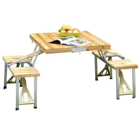 Folding Wooden Picnic Table Wooden Picnic Table 4 Chair Set Portable Folding Wood Cing Garden Bench Stool Ebay