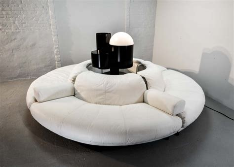 white leather circular sectional rare and fantastic circular white leather sectional