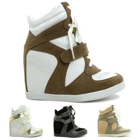 new womens lace up hi top wedge sneaker trainer