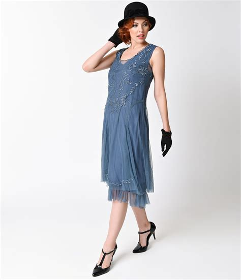 Blue Sweet Retro Dress From Tara Deluxe 1920 s style dresses flapper dresses to gatsby dresses flappers sapphire and 1920s style