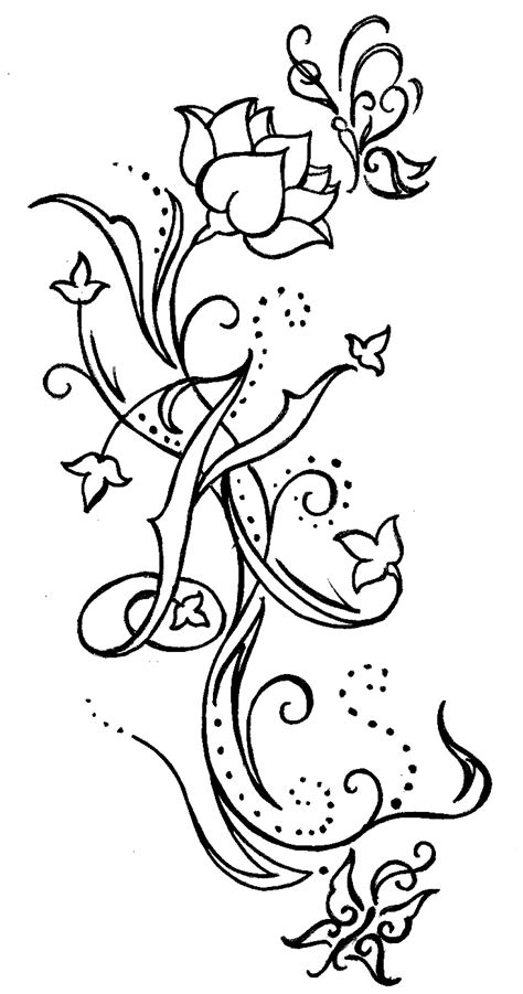swirls with flower butterflies and initial tattoo by