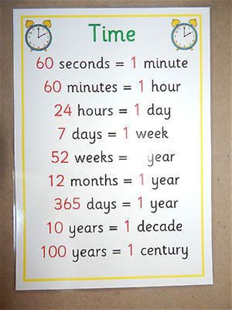 teaching new year ks2 details about time facts a4 poster ks1 ks2 numeracy