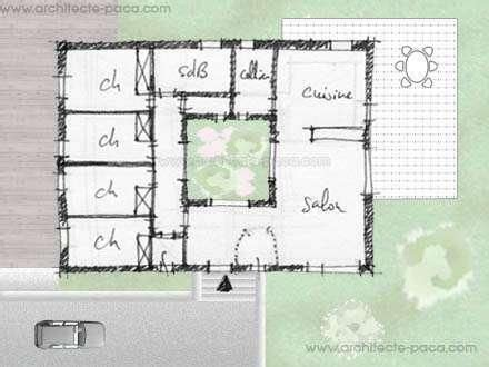 plan maison patio central 1000 ideas about plan maison ossature bois on