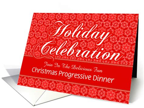 red lace christmas progressive dinner custom invitation