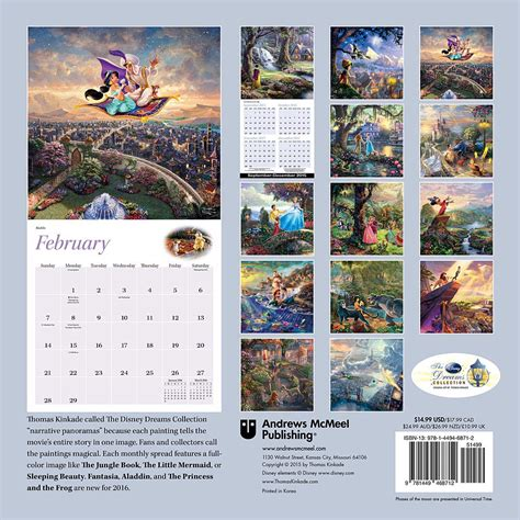 Disney Calendar 2016 Kinkade The Disney Dreams Collection Wall Calendar