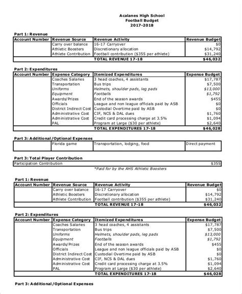 high school football program template budget worksheet high school budget best free printable