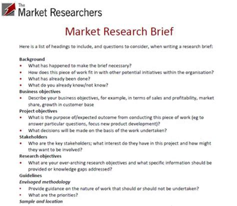 market research template exle market research brief top tips for writing a brief