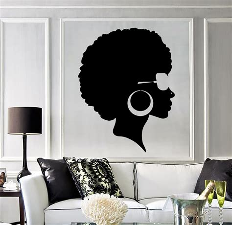 Black Hair Salon Wall vinyl wall decal afro hairstyle black salon