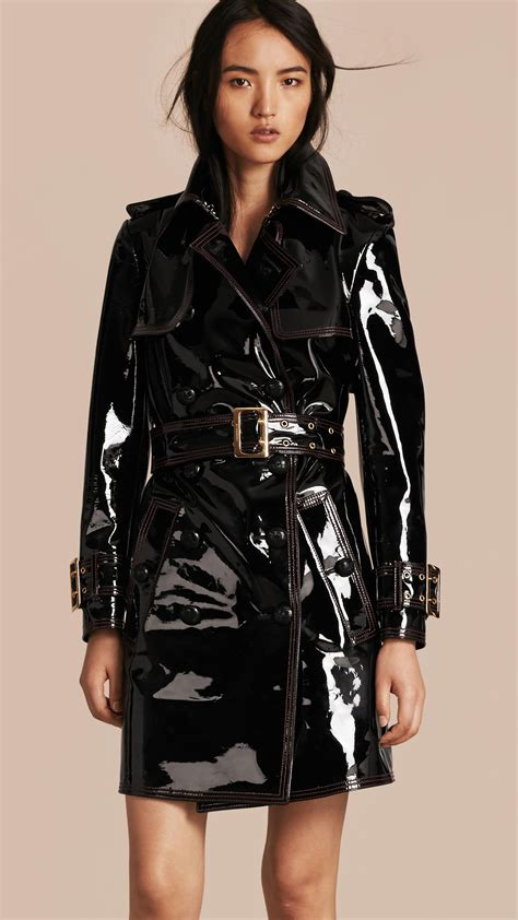 Burberry Style Leather trench coats for burberry patent leather trench
