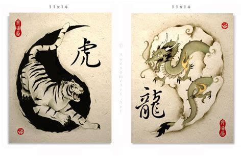 asian tiger and dragon art prints