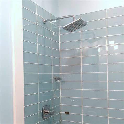 glass tile shower lush vapor 4x12 pale blue glass subway tile shower
