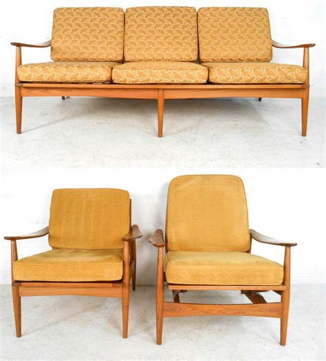 mid century modern living room chairs three piece mid century modern living room set for sale at