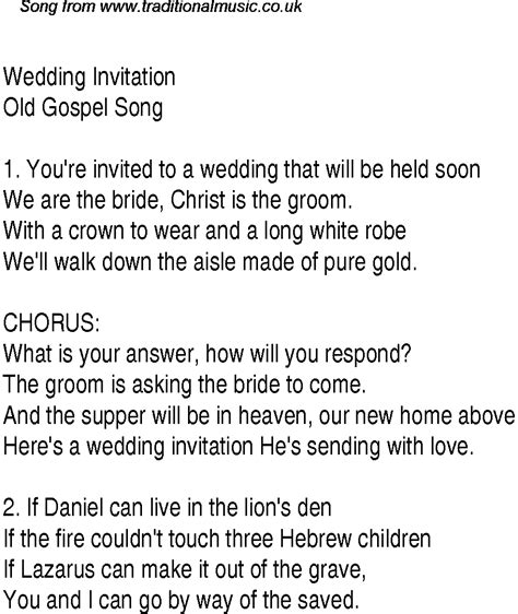Wedding Songs With Lyrics by Wedding Invitation Christian Gospel Song Lyrics And Chords
