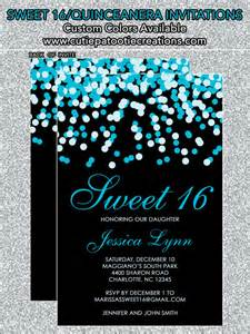 sweet 16 color schemes teal blue black confetti sweet 16 birthday invitations