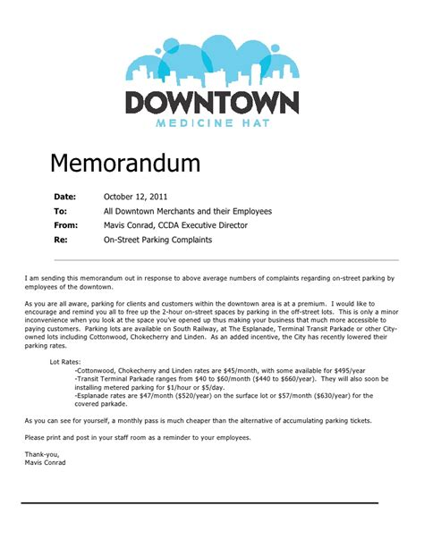 memorandum template parking memorandum