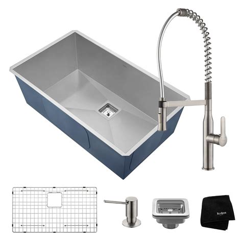 All In One Kitchen Sink Kraus Pax All In One Undermount Stainless Steel 31 In Single Bowl Kitchen Sink With Faucet In