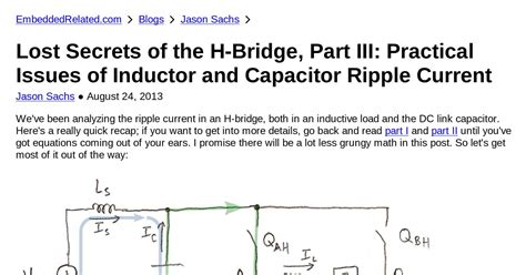 what are inductor and capacitor lost secrets of the h bridge part iii practical issues of inductor and capacitor ripple