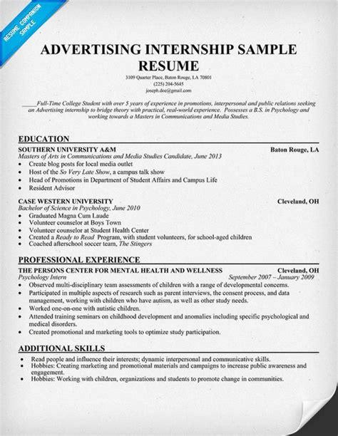 Resume Undergraduate Student Internship advertising internship resume template resumecompanion