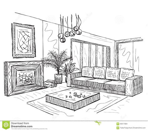 Wohnzimmer Zeichnung by Skizze Eines Innenraums Vektor Abbildung Illustration