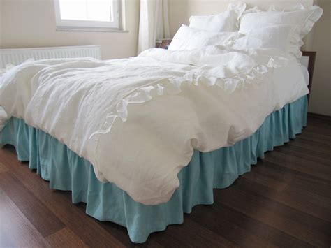 coverlet or duvet king or queen duvet cover white or ivory linen romantic