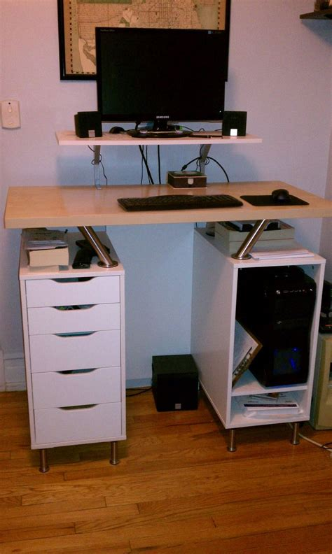 Another Nice Ikea Hack Standing Desk Using Capita Brackets Ikea Standing Desk Legs
