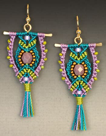 Macrame Kits - micro macrame teal owl earrings kit
