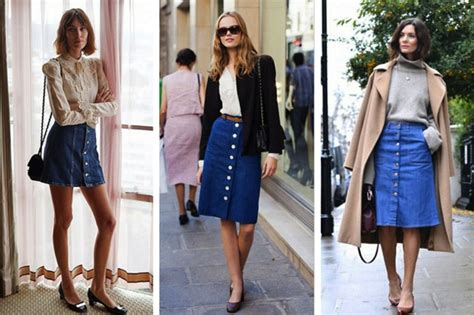 how to style button up denim skirts for fall the