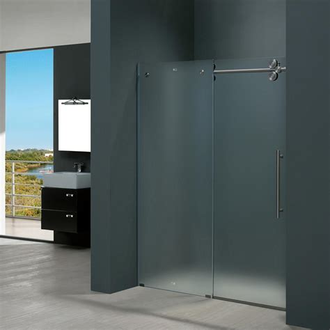 Frosted Shower Glass Doors Vigo Elan 60 In X 74 In Frameless Bypass Shower Door In Stainless Steel With Frosted Glass