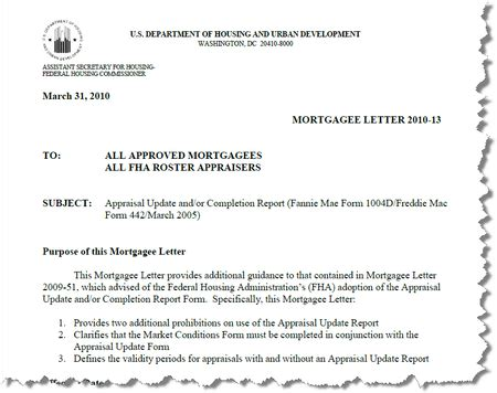 Fha Mortgagee Letter Appraisal Portability Appraisal Scoop Hud Mortgagee Letter 2010 13 Market Conditions Form Must Accompany The