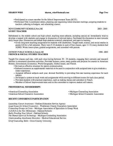 School Counselor Resume by School Guidance Counselor Resume Sle Http